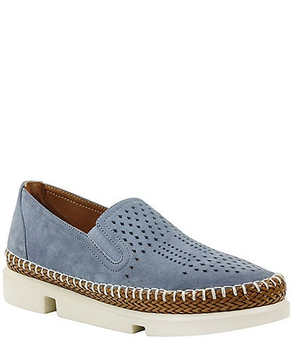L'Amour Des Pieds Perforated Suede Stazzema Flatform Slip-Ons