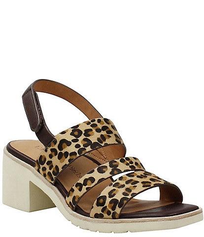 L'Amour Des Pieds Quennell Leopard Print Calf Hair Strappy Sandals