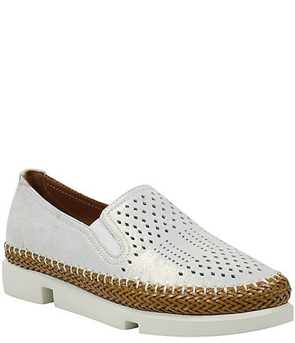 L'Amour Des Pieds Stazzema Perforated Leather Slip On Oxfords