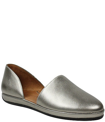 L'Amour Des Pieds Yemina Metallic Leather Two Piece Slip Ons
