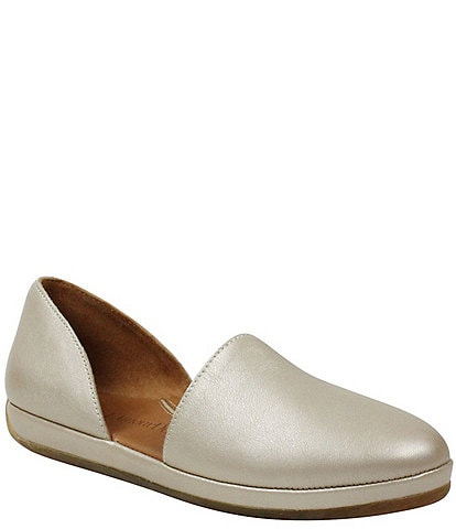 L'Amour Des Pieds Yemina Pearlized Leather Two Piece Slip Ons