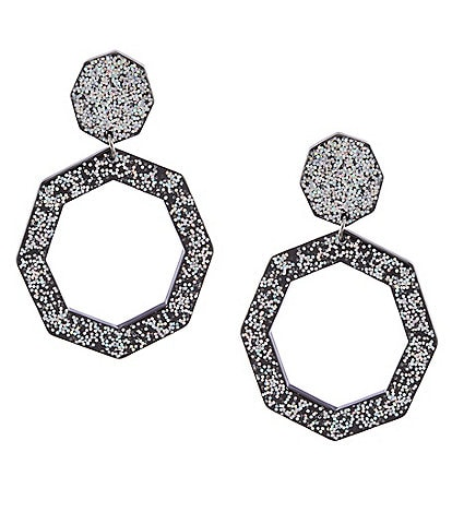 Landry Geometric Resin Glitter Hoop Earrings