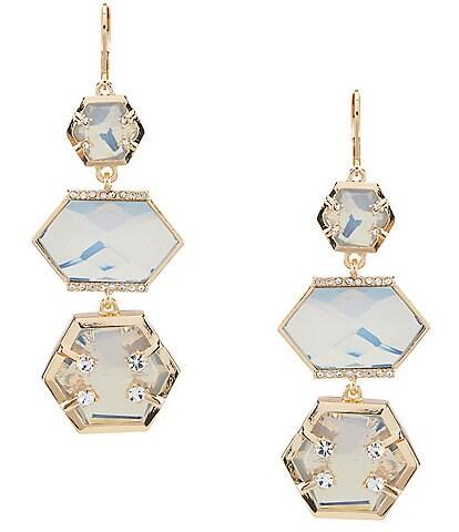 Landry Hexagon Stone Linear Statement Earrings