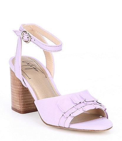 5572edbe4c7 Latigo Idelle Suede Ruffle Block Heel Sandals