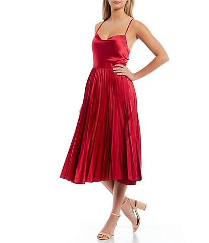 Laundry by Shelli Segal Cowl Neck Sleeveless Satin Pleated Midi Dress