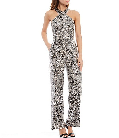 Laundry by Shelli Segal Criss Cross Halter Neck Sleeveless Leopard Stretch Allover Sequin Jumpsuit