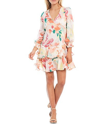 Laundry by Shelli Segal Double Ruffle Floral Satin Yoru A-Line Dress