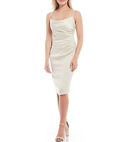 Laundry by Shelli Segal Draped Square Neck Sleeveless Satin Slip Dress