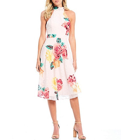 Laundry by Shelli Segal Floral Print Halter Neck A-Line Midi Dress
