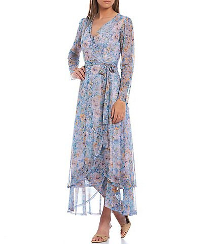 Laundry by Shelli Segal Floral Wrap Maxi Dress
