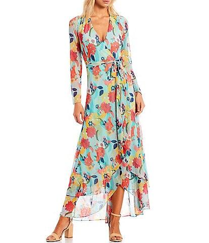 Laundry by Shelli Segal Floral Wrap V-Neck Long Sleeve Dress