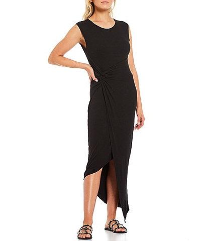 Laundry by Shelli Segal Knot Front Jewel Neck Cap Sleeve Midi Dress
