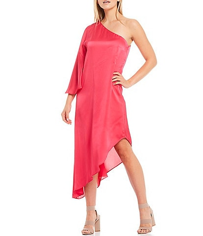 Laundry by Shelli Segal One Shoulder Sateen Asymmetrical Midi Dress
