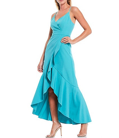 Laundry by Shelli Segal V-Neck Ruffle Front Sleeveless Hi-Low Dress