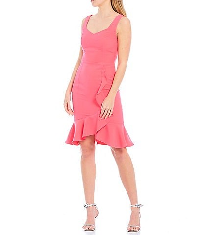 Laundry by Shelli Segal Ruffle Front Stretch Crepe Faux Wrap Dress