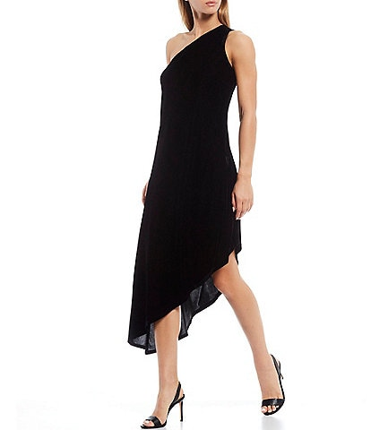 Laundry by Shelli Segal Sleeveless Asymmetrical Stretch Velvet Midi Dress