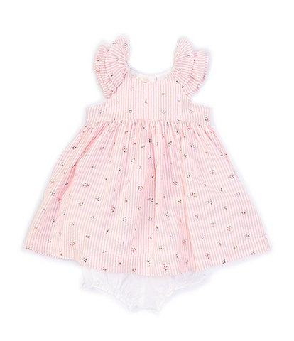 Laura Ashley Baby Girls 12-24 Months Ruffle-Sleeve Floral Seersucker Fit-And-Flare Dress