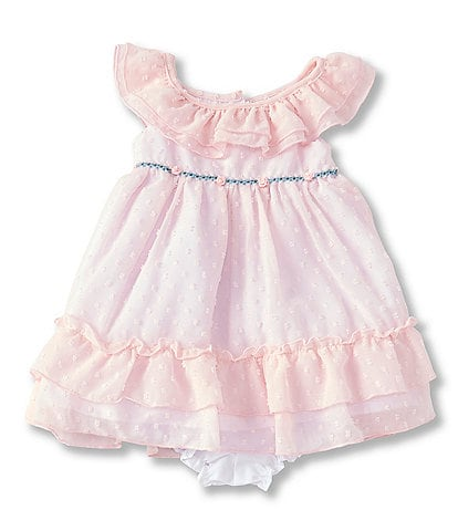 Laura Ashley Baby Girls Newborn-24 Months Clip-Dot Ruffled Fit-And-Flare Dress