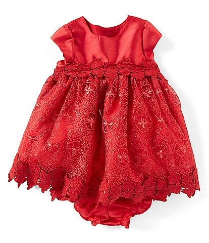 Laura Ashley Baby Girls Newborn-24 Months Floral-Lace Fit-And-Flare Dress