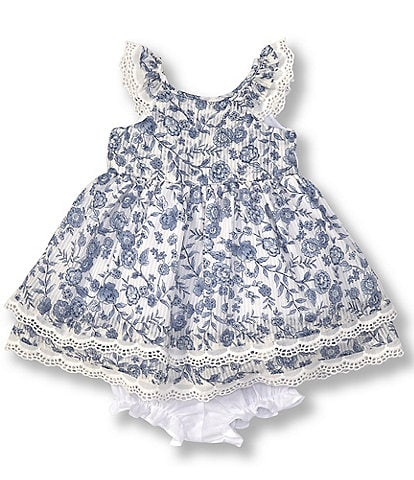 Laura Ashley Baby Girls Newborn-24 Months Floral Lace-Trim Fit-And-Flare Dress