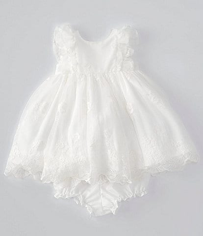 Laura Ashley Baby Girls Newborn-24 Months Flutter-Sleeve Embroidered Fit-And-Flare Dress