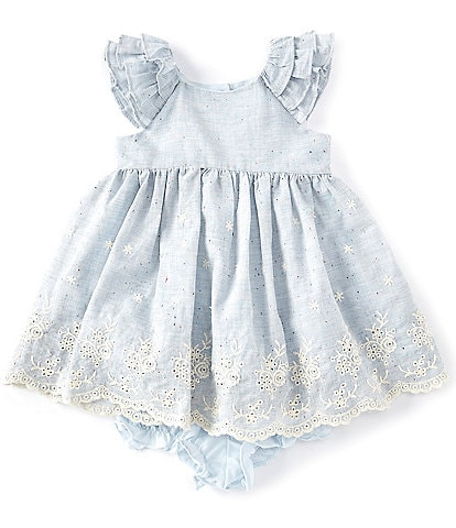 Laura Ashley Baby Girls Newborn-24 Months Ruffle-Sleeve Chambray Embroidered-Hem Fit-And-Flare Dress