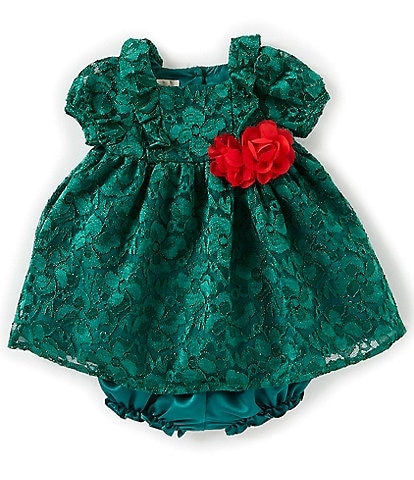 Laura Ashley Baby Girls Newborn-24 Months Short-Sleeve Lace Fit-And-Flare Dress