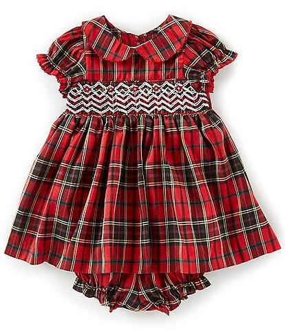 Laura Ashley Baby Girls Newborn-24 Months Smocked Plaid Fit-And-Flare Dress