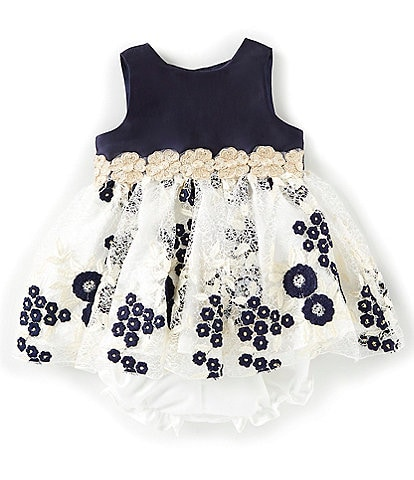 Laura Ashley Baby Girls Newborn-24 Months Solid-Bodice/Embroidered-Lace-Skirted Dress
