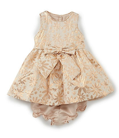 Laura Ashley Baby Girls Newborn-9 Months Brocade Fit-And-Flare Dress