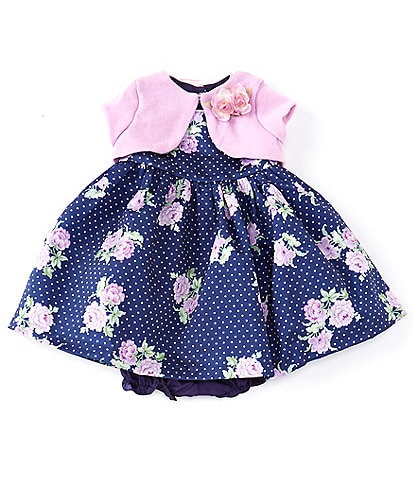 Laura Ashley Baby Girls Newborn-9 Months Floral/Dotted Fit-And-Flare Dress & Shrug Set
