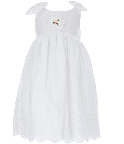 Laura Ashley Little Girls 2T-6X Bow-Shoulder Lace Fit-And-Flare Dress