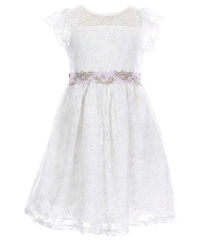 Laura Ashley Little Girls 2T-6X Cap Flutter Sleeve Embroidered Lace Dress