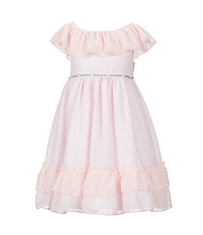 Laura Ashley Little Girls 2T-6X Clip-Dot Ruffled Babydoll Dress