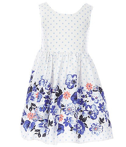 Laura Ashley Little Girls 2T-6X Dotted/Floral-Border Fit-And-Flare Dress