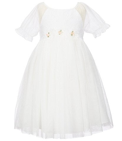 Laura Ashley Little Girls 2T-6X Embroidered Bodice/Mesh Fit-And-Flare Dress