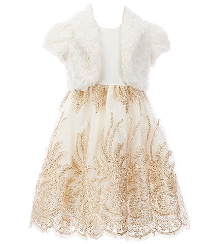 Laura Ashley Little Girls 2T-6X Faux-Fur Shrug & Embroidered-Border Fit-And-Flare Dress Set