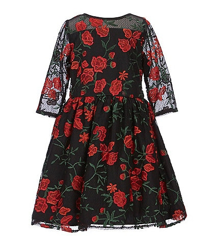 Laura Ashley Little Girls 2T-6X Floral Embroidered A-Line Dress