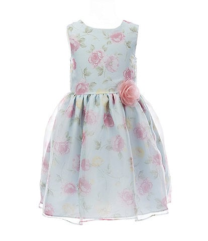 Laura Ashley Little Girls 2T-6X Floral Organza Fit-And-Flare Dress