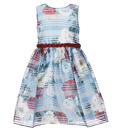 Laura Ashley Little Girls 2T-6X Floral Stripe Burnout Fit-And-Flare Dress