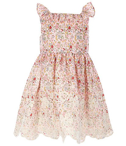 Laura Ashley Little Girls 2T-6X Floral/Lace-Hem Fit-And-Flare Dress