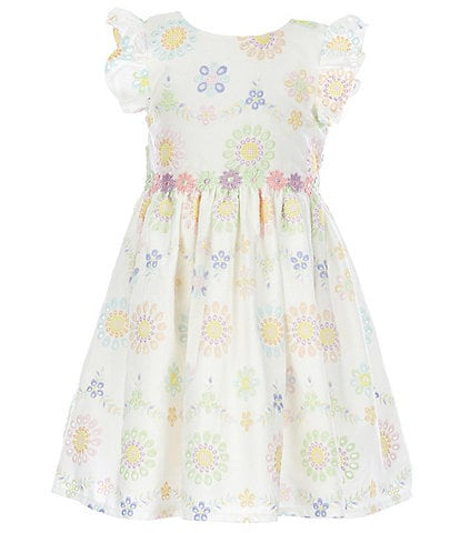 Laura Ashley Little Girls 2T-6X Flutter-Sleeve Floral Eyelet Fit-And-Flare Dress