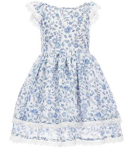 Laura Ashley Little Girls 2T-6X Flutter-Sleeve Floral-Printed Fit-And-Flare Dress