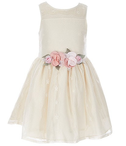 Laura Ashley Little Girls 2T-6X Illusion Lace Fit-And-Flare Dress