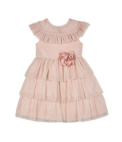 Laura Ashley Little Girls 2T-6X Lace Tiered Ruffle Fit-And-Flare Dress