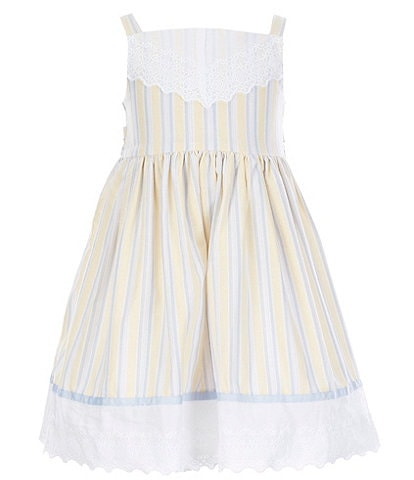 Laura Ashley Little Girls 2T-6X Lace-Yoke Striped Fit-And-Flare Dress