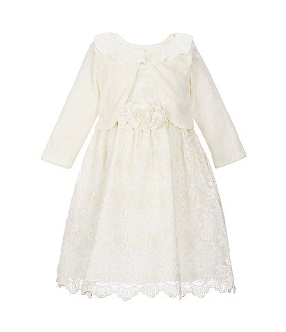 Laura Ashley Little Girls 2T-6X Long-Sleeve Knit Shrug & Embroidered-Lace Fit-And-Flare Dress Set