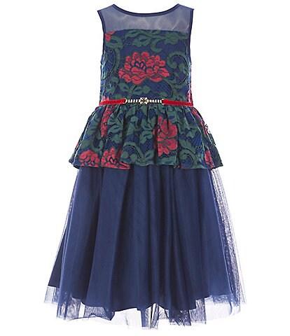 Laura Ashley Little Girls 2T-6X Peplum-Waist Fit-And-Flare Dress