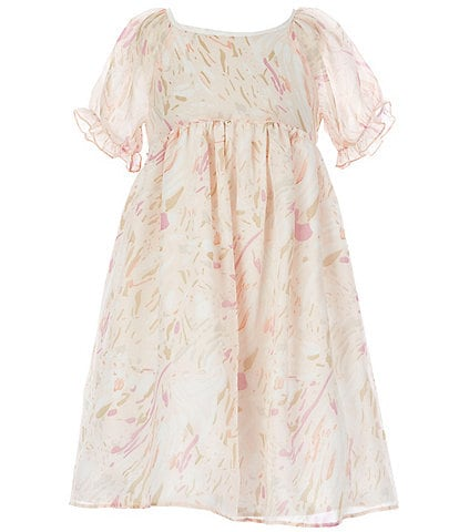 Laura Ashley Little Girls 2T-6X Puff-Sleeve Printed Chiffon Fit-And-Flare Dress