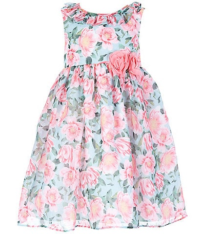 Laura Ashley Little Girls 2T-6X Ruffle-Neck Floral Fit-And-Flare Dress
